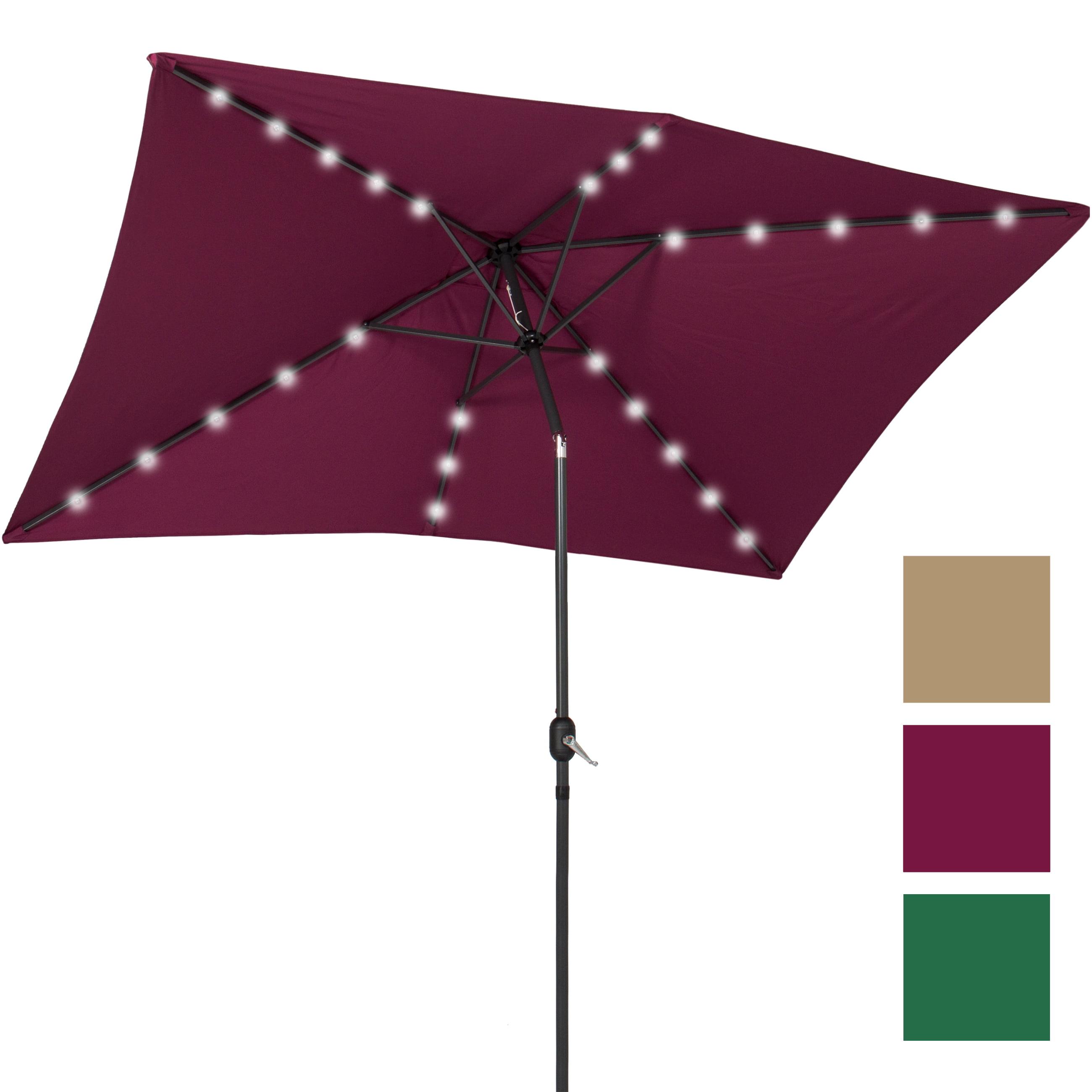 BCP 10' x 6.5' LED Solar Patio Umbrella With Tilt Adjustment Multicolor by Patio Umbrellas