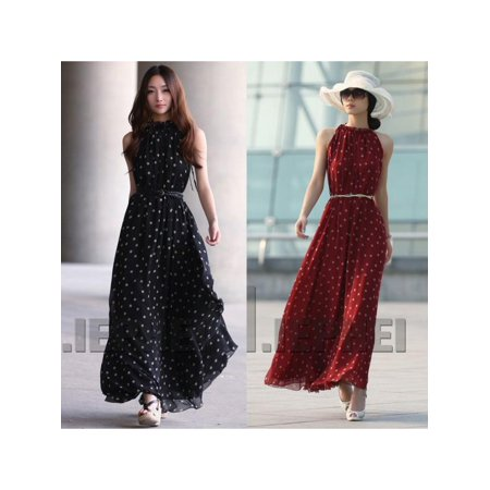 Polka Dot Chiffon Dress - Women Fashion Polka Dot Sleeveless Maxi Boho Dress Casual Summer Beach Party Chiffon Dress