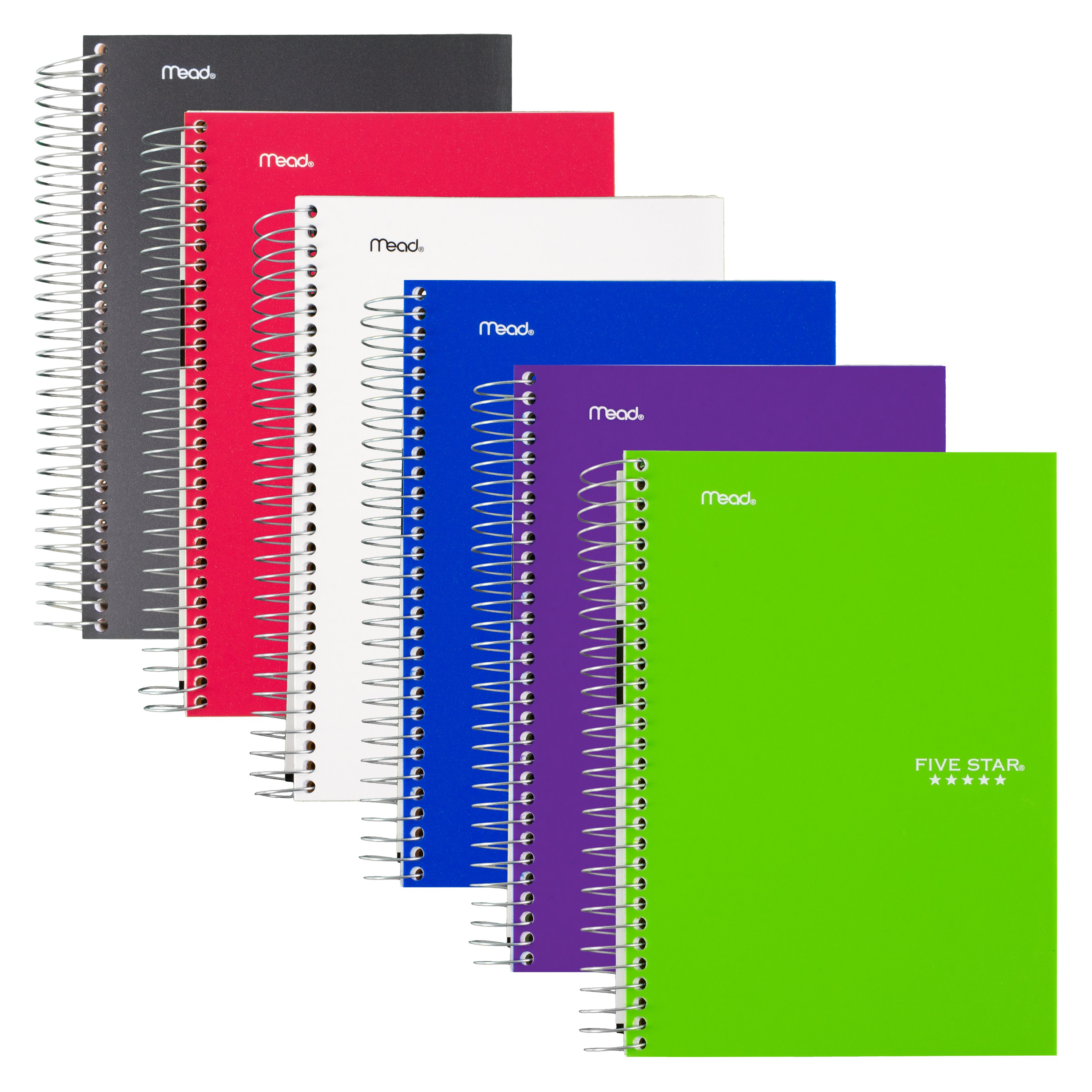 """Five Star Wirebound Notebook, 5 Subject, College Ruled, 9 1/2"""" x 6"""", Assorted Colors, 6 Pack (73527)"""