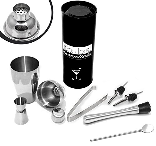 4 pc Cocktail Shaker Set FREE Muddler , FREE Bar Spoon & FREE Liquor Pourers (2) Stainless Steel 4pc Bar Set... by to•ba