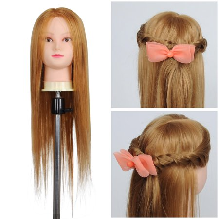 """26"""" Synthetic Hair Salon Hairdressing Training Mannequin Head w/ Clamp Holder - image 7 de 7"""