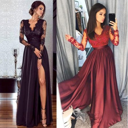Elegant Women Sexy Lace Sleeve Maxi Dress Evening Party Gowns Formal Cocktail Wedding Dress (Sexy Lace Maxi Dress)