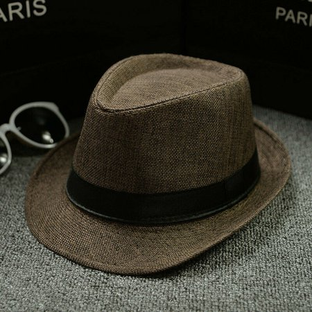 Cool Unisex Vintage Blower Jazz Hat Women/Men Casual Trendy Beach Sunhats Straw Panama Cap Cowboy Fedora Gangster Cap with Black Ribbon