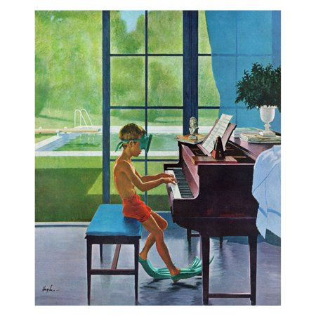 Marmont Hill Poolside Piano Practice Wall Art](Poolside Decorations)