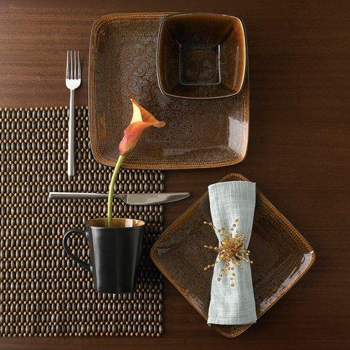 Gibson Elite Autumn Amber 16pc Square Dinnerware Set, Black/Brown