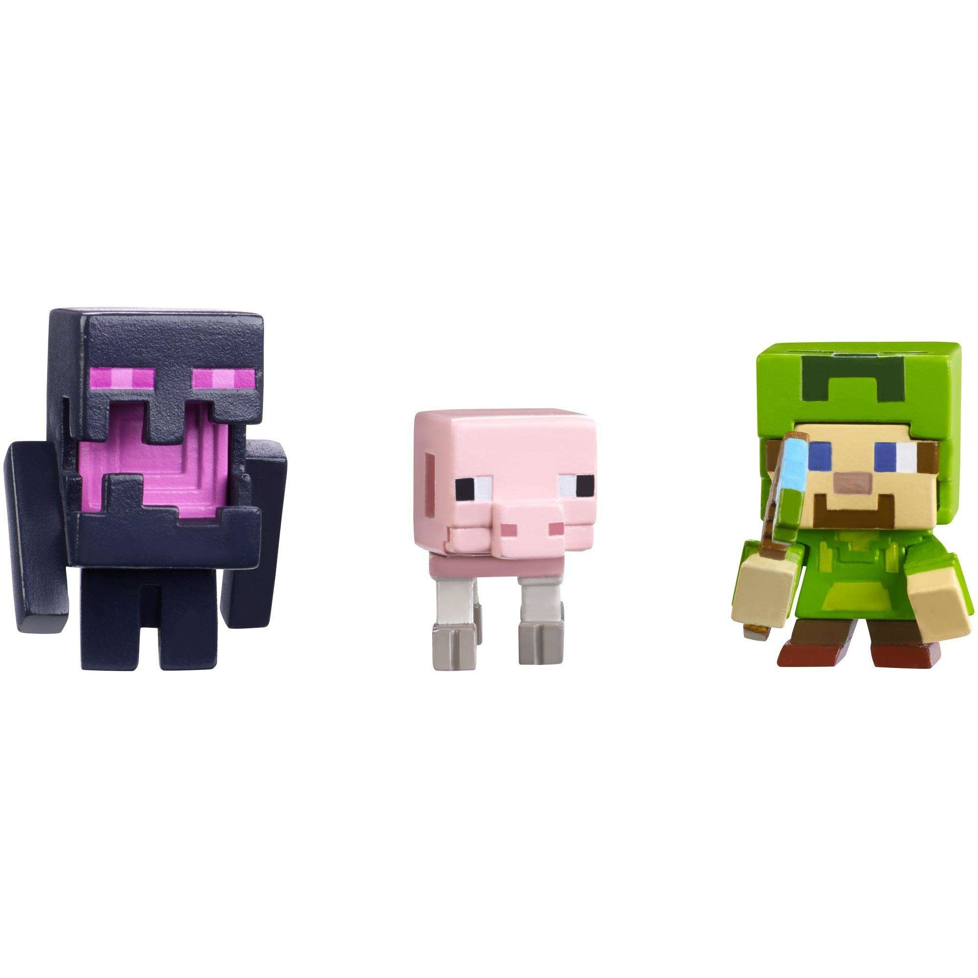 Minecraft Mini Figure Holloween 3-pack Steve w Hoodie, Skeleron Pige, and Endereal by Mattel