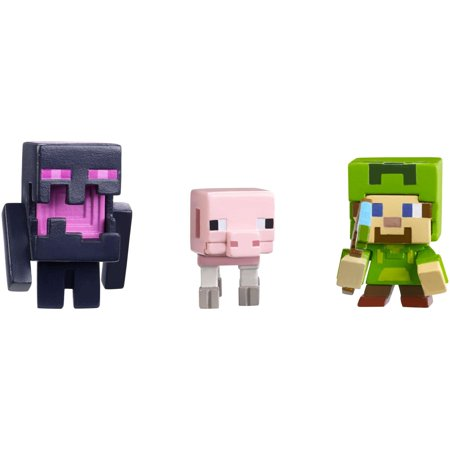 Minecraft Mini Figure Holloween 3-pack Steve w/Hoodie, Skeleron Pige, and Endereal