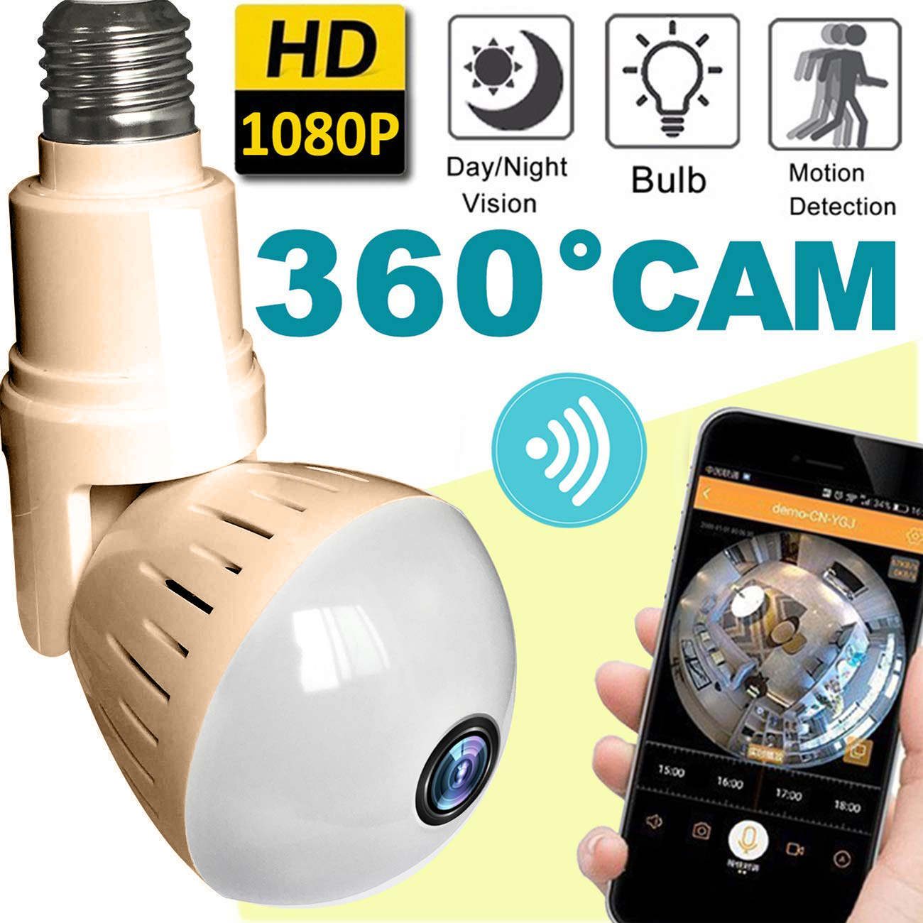 2018 Upgrade Bulb WiFi Camera Wireless Hidden Cameras 360 Panoramic for Home Security System Baby Nanny Pet Indoor with Night Vision Motion Smartphone Smart Home Gifts