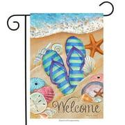 "day in the sun beach garden flag summer flip flops shoreline 12.5"" x 18"""