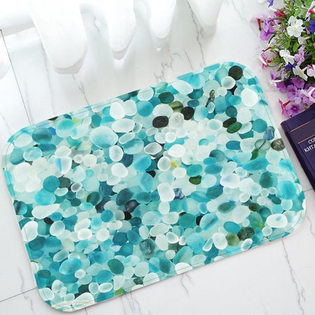 ZKGK Teal Blue Crystal Pebble Stone Pattern Non-Slip Doormat Indoor/Outdoor/Bathroom Doormat 23.6 x 15.7 (Mats Jonasson Crystal)