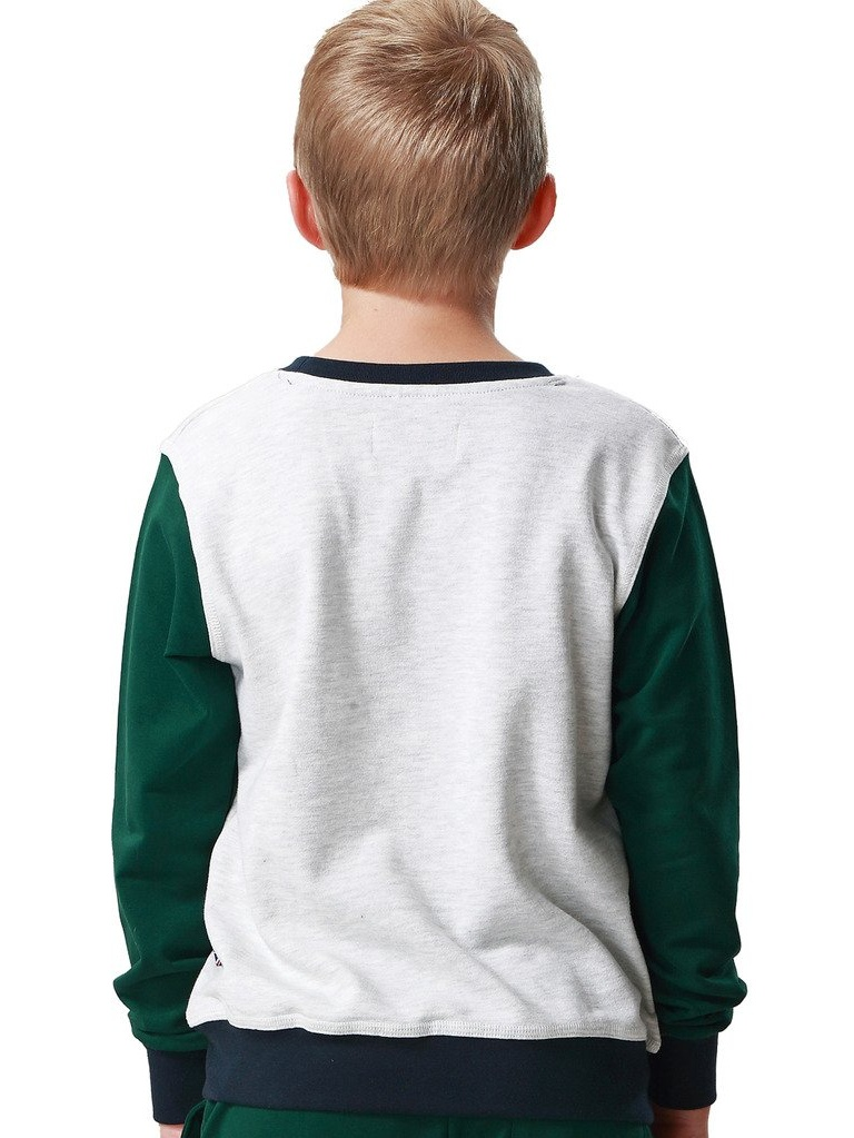 Leo&Lily Boys' Casual Colors Panels Fleece Sweatshirts T-Shirt (Green Light Gray, 14)