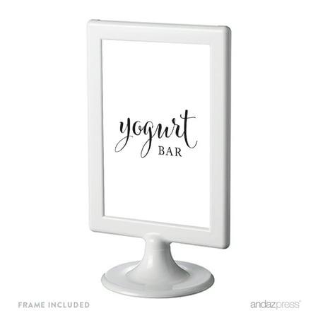 Yogurt Bar Black & White Framed Wedding Party Signs (Wedding Bar Signs)