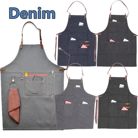 Adjustable Denim Bib Apron Leather Strap Barista Baker Work Uniform Bartender BBQ Chef Cook