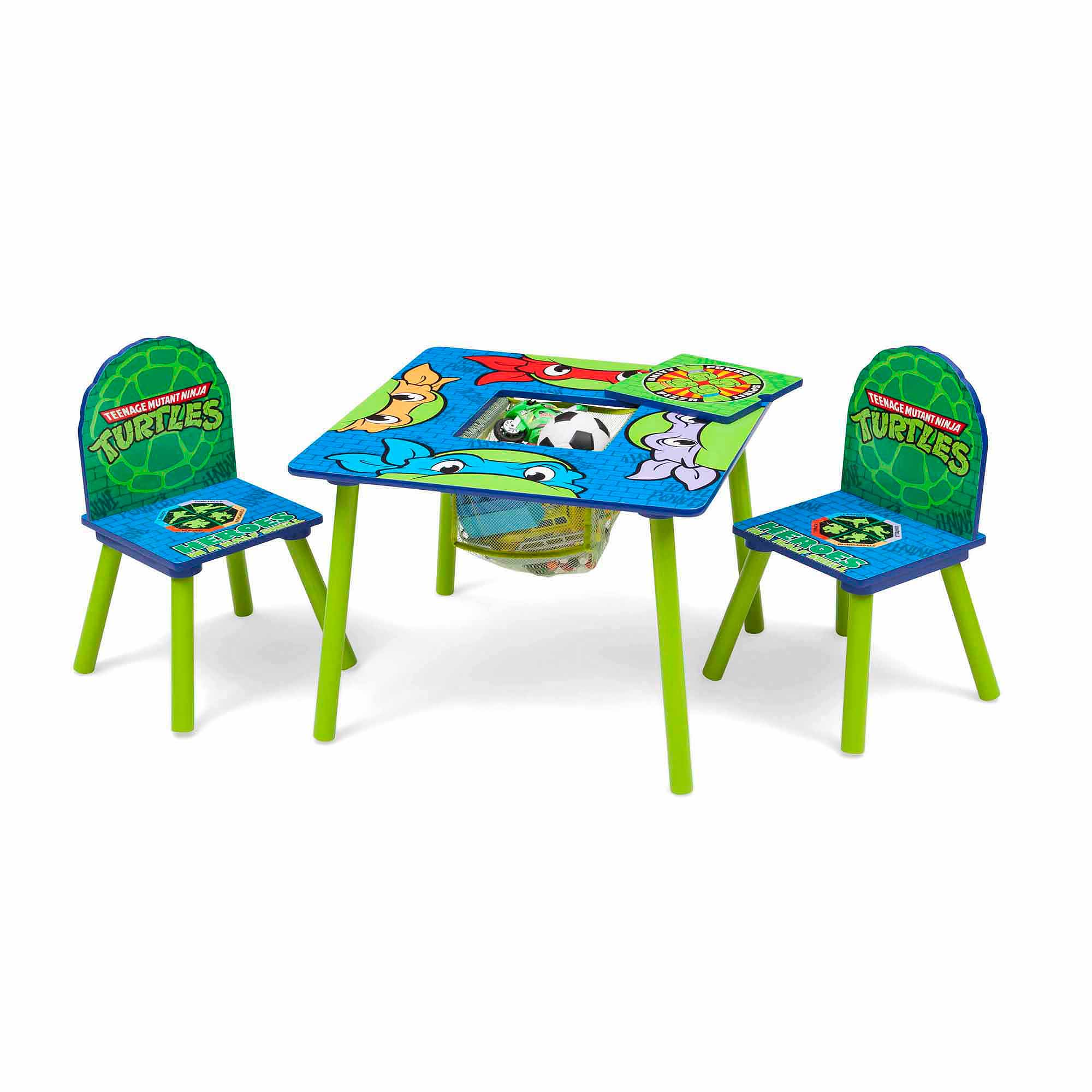 Nickelodeon Teenage Mutant Ninja Turtles, Toddler Kid Table and Chair Set with Storage by Overstock