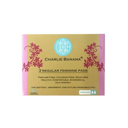 Charlie Banana Cloth Feminine Pads, Size Regular, White, 3 Count ()