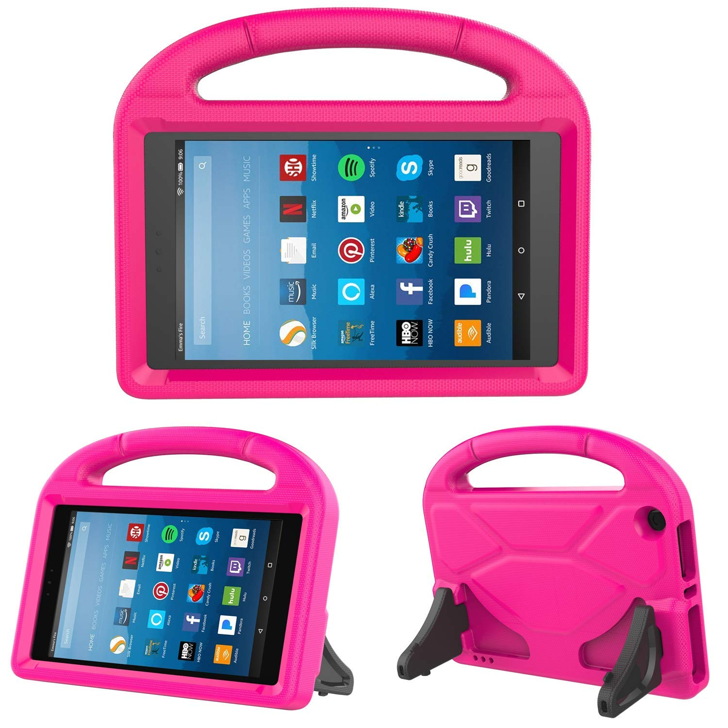 All-New Fire HD 8-inch 2018 2017 2016 Case, Allytech Light Weight Shock Proof Handle Kid Proof Cover Child Stand Case for Amazon Kindle Fire HD 8-inch Tablet (8th/ 7th/ 6th Generation) - Rose