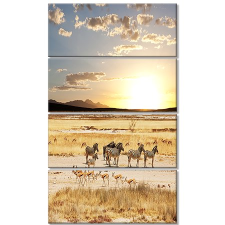 Zebras and Antelopes in Africa - Oversized African Landscape Canvas Art - image 1 of 3