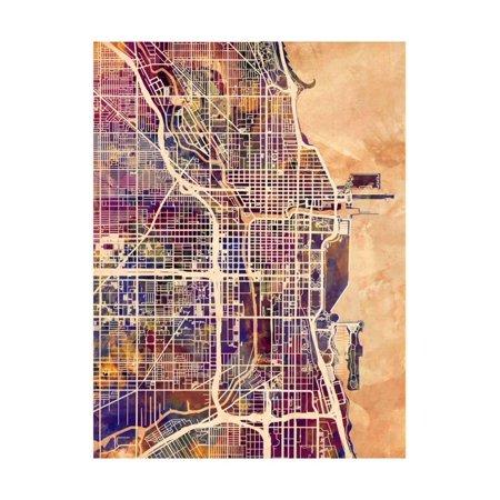 Chicago City Street Map Print Wall Art By Michael (Street Wall Map Port)