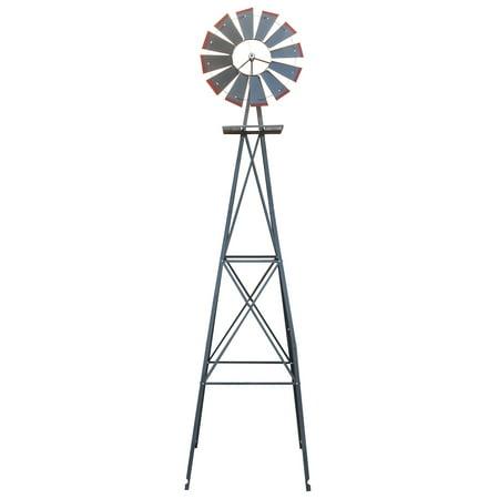 8FT Yard Garden Metal Ornamental Wind Mill Weather Resistant Backyard Lawn Decoration -