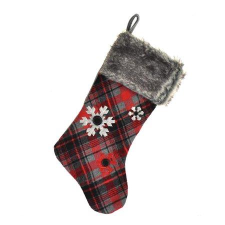 New Fur Felt - Hanging Felt Plaid Snowflake Christmas Stocking with Faux Fur Cuff, Red/Black, 18-inch