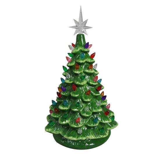 Christmas Is Forever Lighted Tabletop Ceramic Tree (11 ...