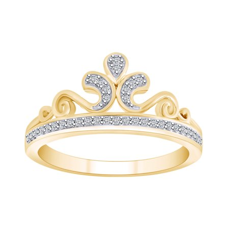 0.10 Cttw Round White Natural Diamond Queen's Crown Ring In 10K Solid Yellow Gold-Ring (Crown Queen's)
