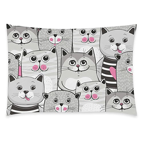 ZKGK Cute Cats Seamless Pattern Home Decor, Lovely Cat Soft Pillowcase 20 x 30 Inches Two... by ZKGK