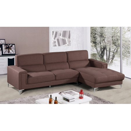Modern Sectional Brown Faux leather 2pc Sectional Sofa Set Relax Tufted  Seat Chase Facing Right Plush Arms