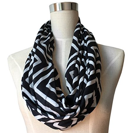Scarf With Pockets - Pop Fashion Womens Square Geometric Pattern Scarf with Zipper Pocket