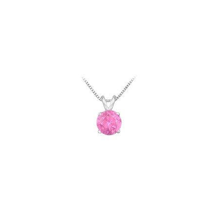 14K White Gold Prong Set Natural Pink Sapphire Solitaire Pendant 0.50 CT TGW - image 2 de 2