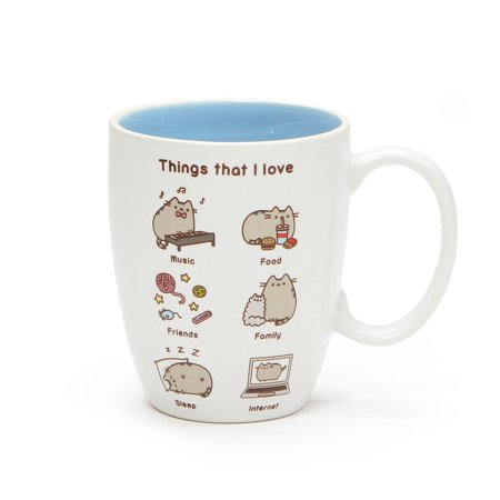 GUND Pusheen Ceramic Stoneware Things That I Love 12 oz - Handcrafted Glazed Stoneware Mug