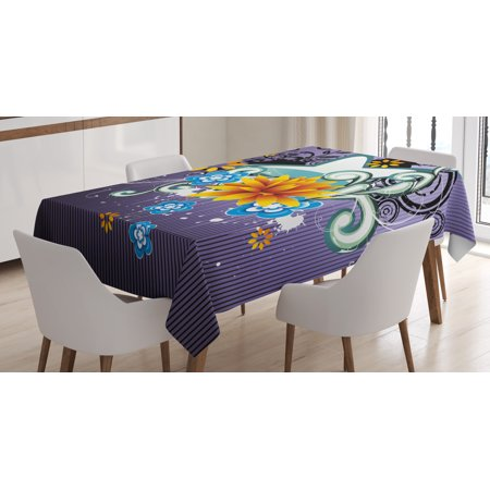 Modern Decor Tablecloth, Contemporary Design with Stars Flowers and Swirls with Dark Purple Backdrop, Rectangular Table Cover for Dining Room Kitchen, 60 X 84 Inches, Multicolor, by Ambesonne ()
