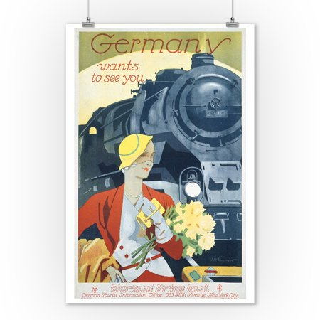 Germany - Germany Wants to See You - (artist: Engelhardt c. 1927) - Vintage Advertisement (9x12 Art Print, Wall Decor Travel (Best Time To Travel To Germany And Austria)