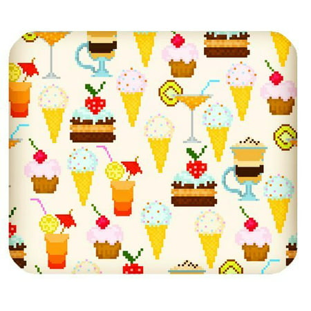MKHERT Digital Style Ice Cream Cake and Drinks Pattern Rectangle Mousepad Mat For Mouse Mice Size 9.84x7.87 inches - Halloween Drinks Dry Ice Alcoholic