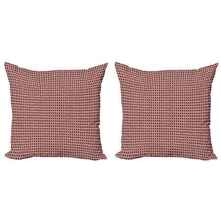 Geometric Throw Pillow Cushion Cover Pack of 2, Eggshell Shape Circles and Semicircles Repeating Pattern, Zippered Double-Side Digital Print, 4 Sizes, Brown Hot Pink, by Ambesonne Smooth Oval Shape