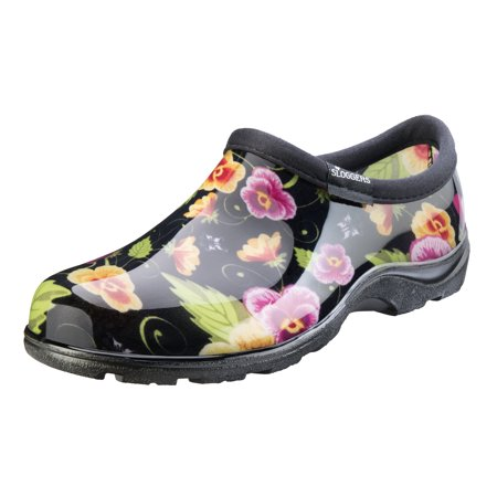 Sloggers Women's Rain & Garden Shoes - Black Pansy Print