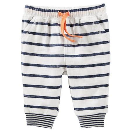 Oshkosh B'gosh Baby Boys Striped Jersey Joggers- 0-3 Months