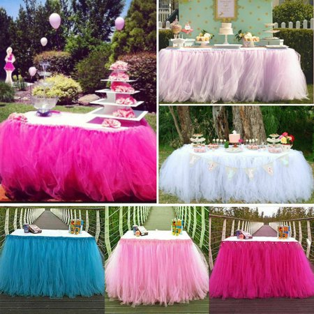 The Noble Collection Wedding Party Tulle Table Skirt Tableware Cover Birthday Baby Shower Home - Tulle Table Skirt