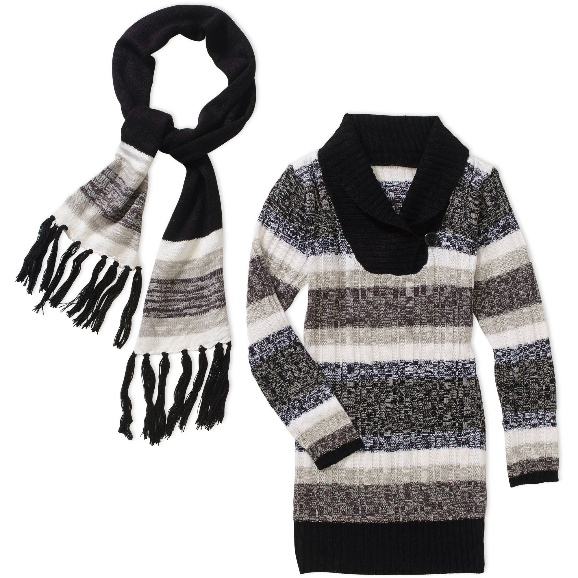 Derek Heart Girls' Stripe Tunic with Scarf