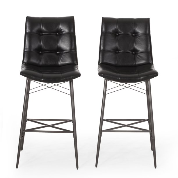 Noble House Swanton Upholstered Tufted Barstools, Set of 2, Midnight Black and Gun Metal