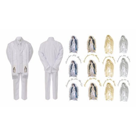 Baby Boy Kid Christening Baptism Communion White Suit Mary Maria Stole - Boys First Communion