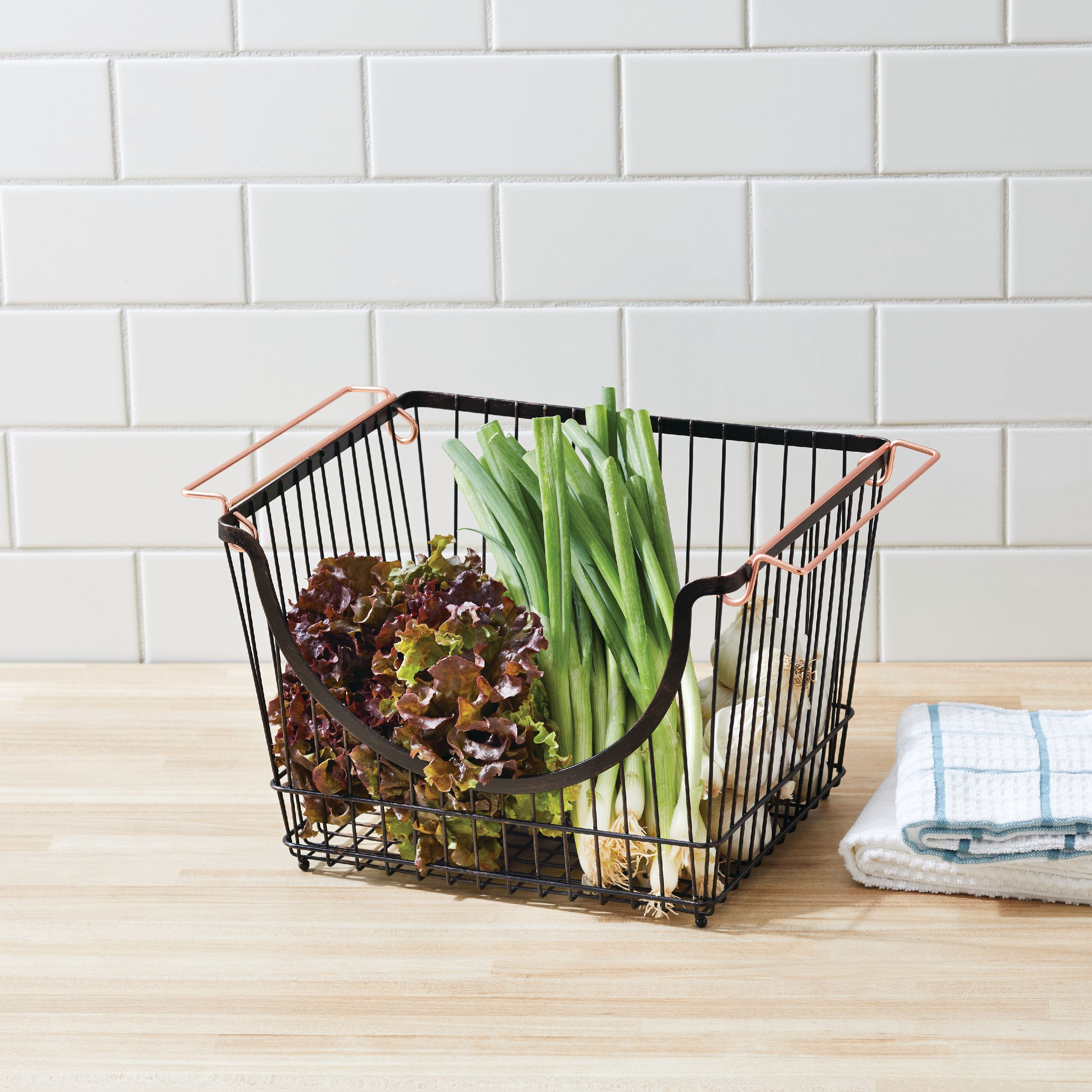 Better Homes & Gardens Large Stacking Wire Basket, Bronze