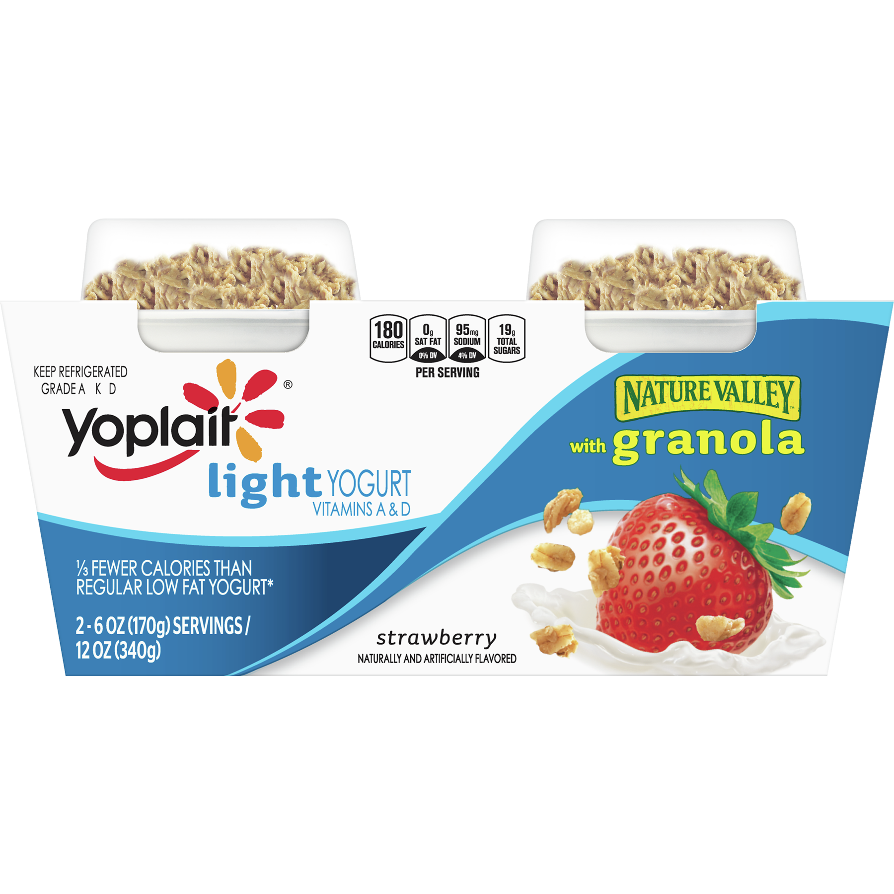 Yogurt, Granola Strawberry, 2 ct, 12 oz