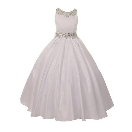 Little Girls White Shimmery Beaded Pleated Dull Satin Flower Girl Dress