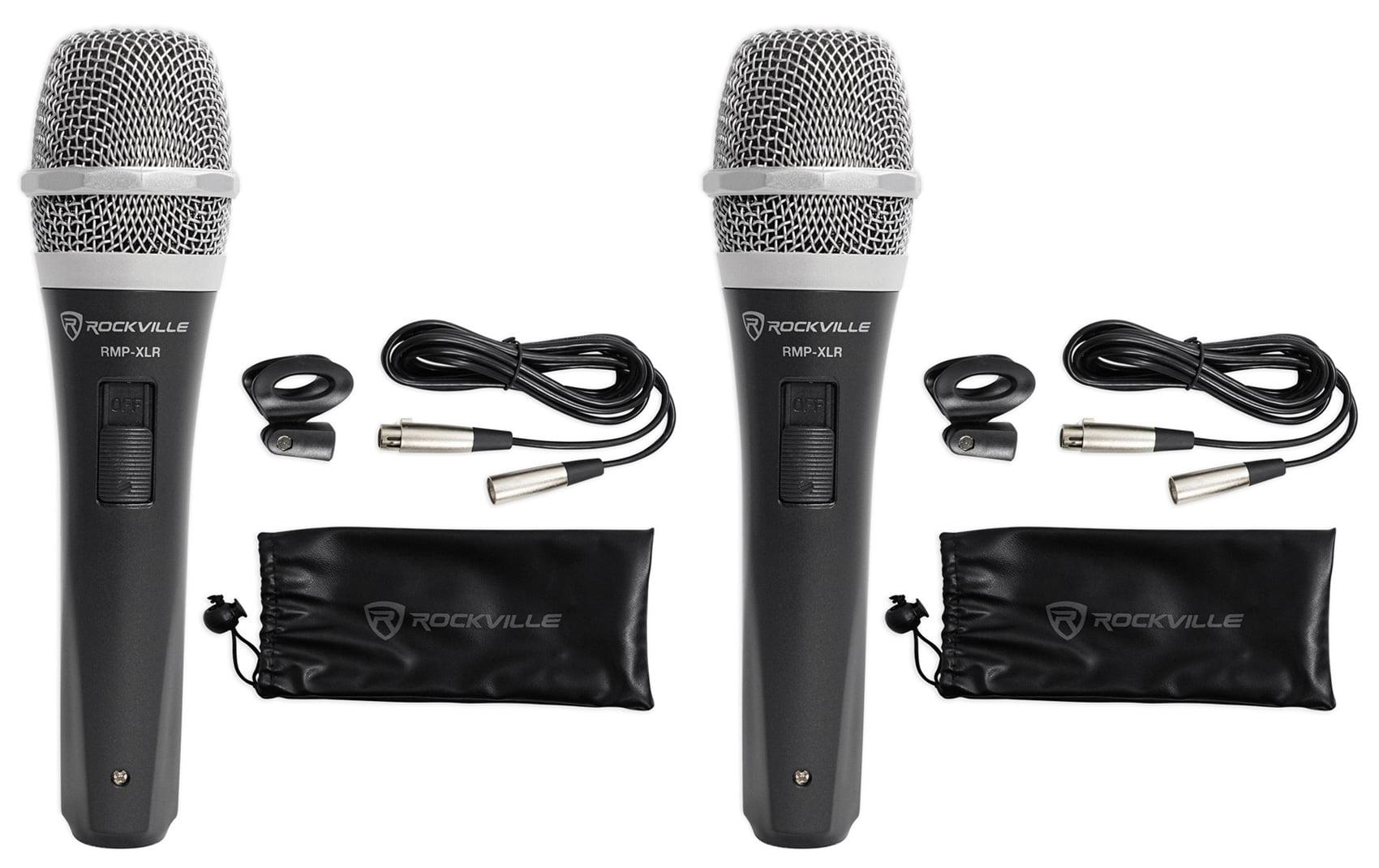 2 Rockville RMP-XLR Dynamic Cardiod Pro Microphones + 10' XLR Cables+2 Clips by ROCKVILLE