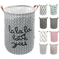 AUCHEN Round Storage Baskets, Clothes Laundry Hamper with Handles, Large Waterproof Cotton Linen Collapsible Storage Basket, Toy Storage Bin for Toy Collection (Round - Love You)