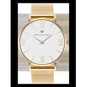 Stella roman numeral gold womens watch with 18mm gold metal mesh interchanageable watch band SC015