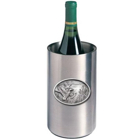 Mallard Duck Wine Chiller   Double Wall Insulated Stainless Steel   Detailed Fine Pewter Medallion   1 Piece