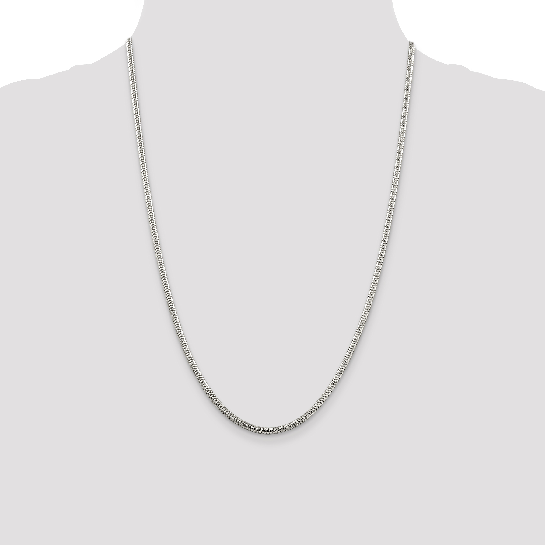 925 Sterling Silver 3mm Round Snake Chain Necklace 24 Inch Pendant Charm Fine Jewelry Gifts For Women For Her - image 4 de 5