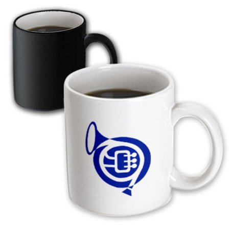 3dRose French horn stylized simple blue, Magic Transforming Mug, 11oz